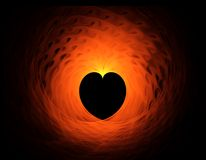 Fiery red heart on black background Stock Image