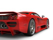 Fiery red modern super race car - taillight closeup shot Royalty Free Stock Photos
