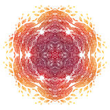 Fiery red and orange doodle style feathers abstract mandala. Fiery red and orange doodle style feathers abstract vector mandala Stock Images