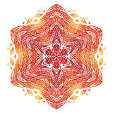 Fiery red and orange doodle style feathers abstract mandala Stock Photo