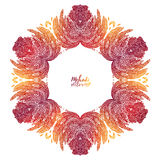 Fiery red and orange doodle style feathers floral vector frame Stock Image