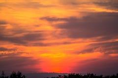 Fiery sunset sky. Fiery red orange sunset sky Stock Photography