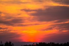 Fiery sunset sky. Fiery red orange sunset sky Royalty Free Stock Photos
