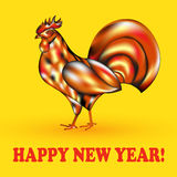 Fiery red rooster and the Chinese symbol of a rooster. On a gold background , chicken a symbol of the Chinese new year 2017, template for greeting card. Vector Stock Photo