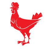 Fiery red rooster 2017. Vector  image of a silhouette fiery red rooster. Chinese Zodiac Calendar 2017n Stock Images