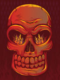 Red Skull. Fiery Red Skull with Flames Stock Image