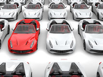 Fiery red sports car stands out from the crowd of white sports cars. On white background Stock Photos