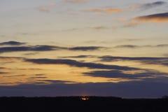 Fiery red sun peeking through trees on the horizon at sunrise Stock Images