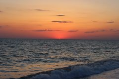 Fiery red sunset over the sea Royalty Free Stock Photo