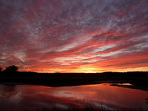 Fiery red sunset reflected over tranquil pond. Dramatic clouds suspended over New England pond; New Hampshire pond topped with fiery red clouds; New England pond stock image