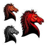 Fiery red wild mustang horse tribal mascot design. Aggressive mustang horse mascot with tribal stylized fiery red stallion with angry stare. Use as sporting club Royalty Free Stock Images