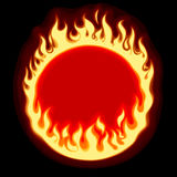 Fiery ring banner and frame on black background Royalty Free Stock Images