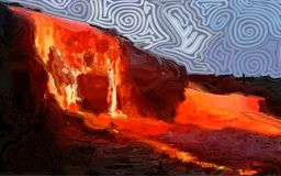 Fiery rivers of lava vector illustration
