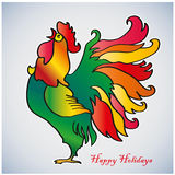 Fiery Rooster. Chinese New Year of the Rooster. Red cock - symbol of 2017. Merry Christmas and Happy new year. Greeting card Stock Image