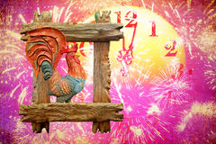 2017 - Fiery rooster New year in Oriental easter calendar Royalty Free Stock Image