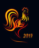 Fiery Rooster. For New Year`s design Royalty Free Stock Photos