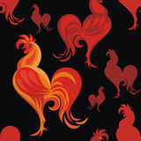 Fiery rooster pattern. Seamless pattern with the image of a red cock. Fiery Rooster - a symbol of new 2017 on the Chinese horoscope Stock Photos