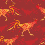 Fiery rooster pattern. Fiery rooster - a symbol of new 2017 on the Chinese horoscope. Seamless pattern Royalty Free Stock Photos
