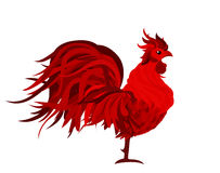 Fiery Rooster. Vector. Symbol 2017. Isolated  Profile Red Cocker. El on a white background Royalty Free Stock Photo