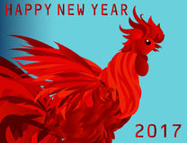 Fiery Rooster. Vector. Symbol 2017.Profile Red Cockerel Stock Photos