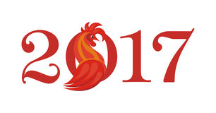 Fiery rooster year. Fiery Rooster - a symbol of new 2017 on the Chinese horoscope Stock Images