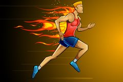 Fiery Runner. Illustration of man running fast as fire flame Stock Images