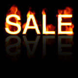 Fiery SALE Sign. Retail SALE artwork with a fire effect and reflection.  Great for signs posters web marketing and more Royalty Free Stock Images