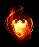 Fiery Shield. Vector fiery shield on black background Stock Photo