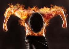 Fiery silhouette. Of athletic man Royalty Free Stock Photography