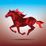 Fiery silhouette of a running horse. Silhouette fiery horse origami-style Stock Photography
