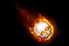 Fiery Skull. Illustration of skull falling with fire flame Royalty Free Stock Photos