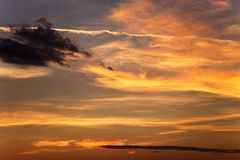 Fiery sky with clouds at sunset. Before nightfall Royalty Free Stock Image