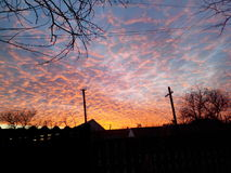 Fiery Sky. In one of autumn evening Royalty Free Stock Image