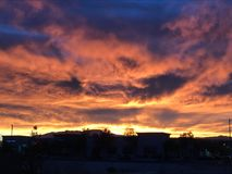 The fiery sky at sunset. Fiery sky at sunset in las vegas Stock Photography