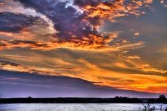 Fiery sky. Winter fiery sky above the plain of Slavonia Stock Image