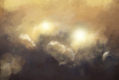 Fiery smoke. Background illustration. Great clouds of smoke behind which some lights or fires can be seen Stock Photos