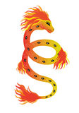 Fiery snake. And flame. Illustration Stock Photo