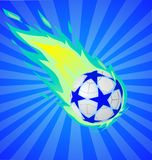Fiery soccer ball. On the blue background,  illustration Royalty Free Stock Image