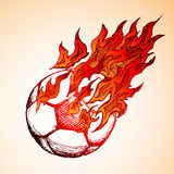 Fiery Soccer Ball Doodle Stock Photo