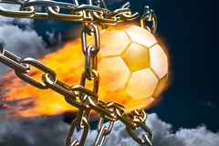 Fiery Soccer Ball and Metal Chains