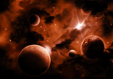 Fiery Space sky background. Space background with fiery sky and fictional planets Royalty Free Stock Photo