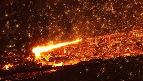 Fiery sparks of molten metal stock footage