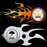Fiery Speedometer. Illustration of speedometer with flame on black background Stock Photos