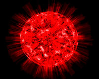 Fiery sphere. The bright explosion on the unknown planet Royalty Free Stock Images
