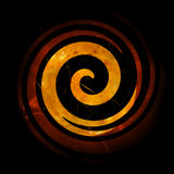 Fiery Spiral. Grunge Black Spiral Over Orange Element Royalty Free Stock Images