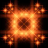 Fiery square. Fiery neon square in emptiness Stock Photo