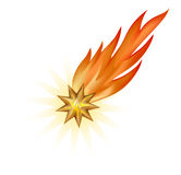 Fiery star. Burning gold star promptly fall downwards Stock Images