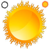 Fiery Sun Icon Set. An image of a fiery flame sun icon set Stock Image