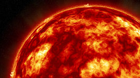 Fiery Sun. A rendition of a fiery sun with molten surface solar storms and winds and a dark starry sky background  and fiery red glow Royalty Free Stock Images