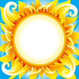 Fiery sun vector background. Bright fiery sun on blue sky with round place for text in center of sun Stock Photography